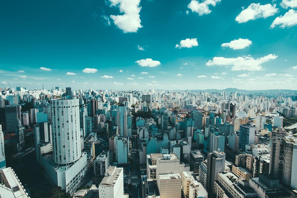 Sao Paulo cityscape from a BA plane