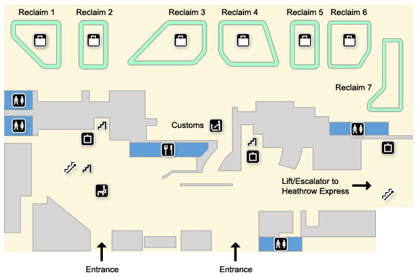 terminal 4 map - arrivals area, ground floor