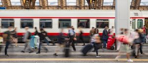 Passengers rushing to a train to avoid Heathrow disruptions