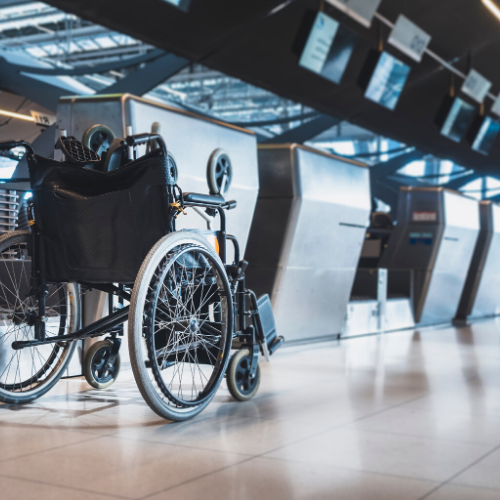 wheelchair at an airport