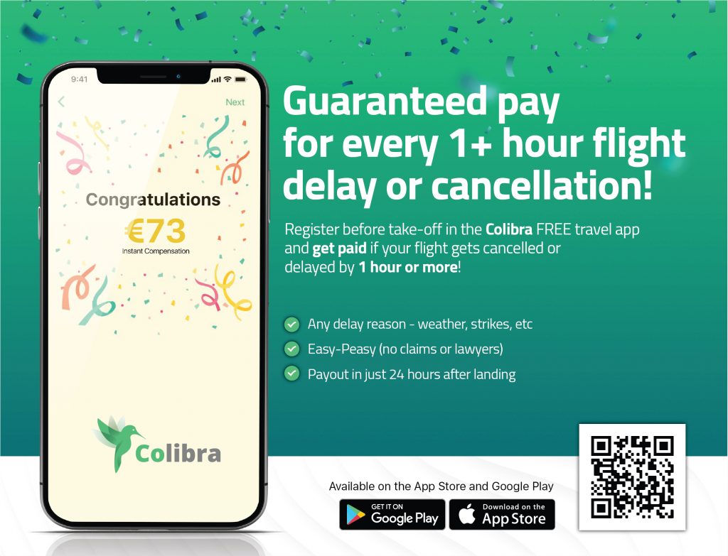 Download Colibra fro guaranteed payments on 1+ flight delays